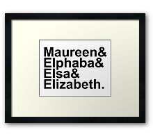 Idina Menzel Character List (Black Text) Framed Print