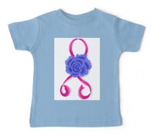 Breast Cancer Awareness Ribbon and Rose Baby Tee