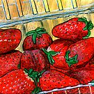 Basket of Strawberries by bernzweig