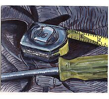 Tape Measure and Screwdriver Photographic Print