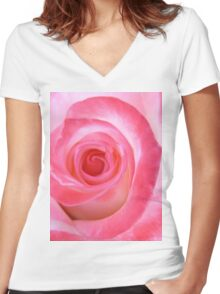 Pink White Rose Women's Fitted V-Neck T-Shirt