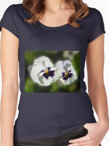 Cute As They Come - Pair of Sunlit Pansies Women's Fitted Scoop T-Shirt
