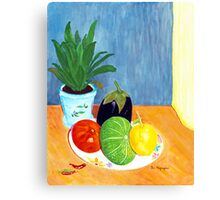 Tomato, Lemon, Eggplant and Squash Canvas Print