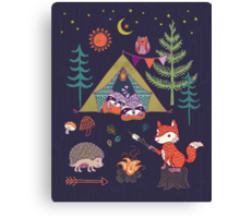 Woodland Animals Campout Canvas Print