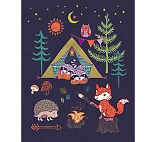 Woodland Animals Campout Photographic Print