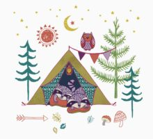 Woodland Animals Campout Kids Tee