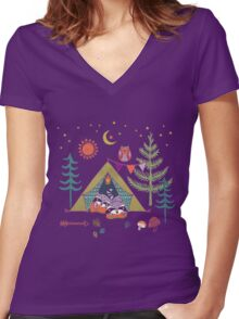 Woodland Animals Campout Women's Fitted V-Neck T-Shirt