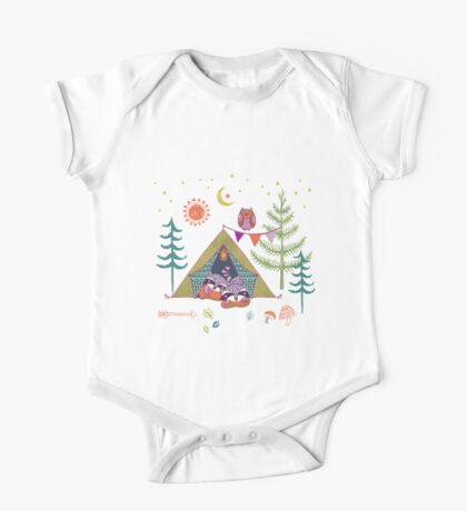 Woodland Animals Campout One Piece - Short Sleeve