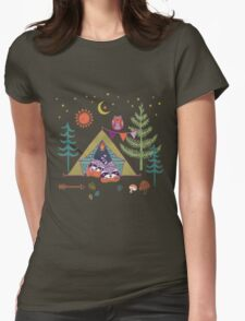 Woodland Animals Campout Womens Fitted T-Shirt