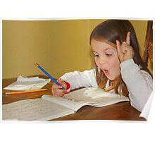Young girl doing homework with pleasure. Poster