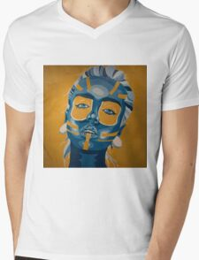 Blue Mens V-Neck T-Shirt