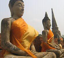 Row of Buddhas, Ayutthaya, Thailand by Kate Harriman