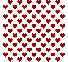 Red Hearts Pattern Design Cute Fun Love Romantic Girls White Sweet  Photographic Print