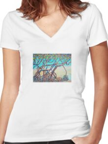 Town of 1770 Mangroves Women's Fitted V-Neck T-Shirt