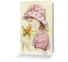 Girl with a Daffodil Greeting Card