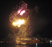 Grand Harbour lit at Night, Valletta, Malta by Rosalie M