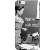 Retro Humor Woman Versus Typewriter  iPhone Case/Skin