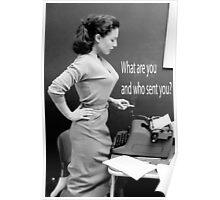 Retro Humor Woman Versus Typewriter  Poster