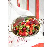 Red Chair with Strawberries Photographic Print