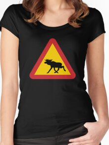 Moose Warning Women's Fitted Scoop T-Shirt