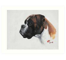 Boxer oil painting Art Print