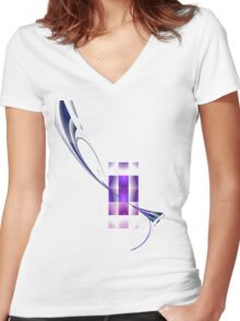 Pathway through blocks Women's Fitted V-Neck T-Shirt