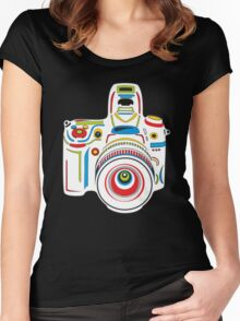 Rainbow Camera Black Background Women's Fitted Scoop T-Shirt