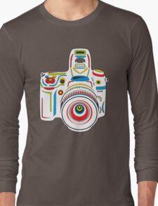 Rainbow Camera Black Background Long Sleeve T-Shirt