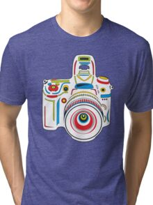 Rainbow Camera Black Background Tri-blend T-Shirt