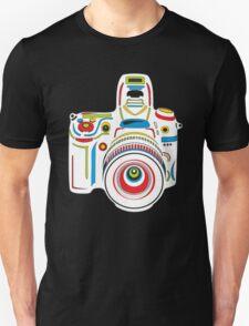 Rainbow Camera Black Background Unisex T-Shirt