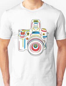 Rainbow Camera Black Background T-Shirt