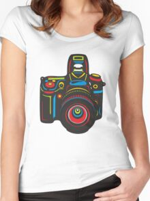 Black Camera Women's Fitted Scoop T-Shirt