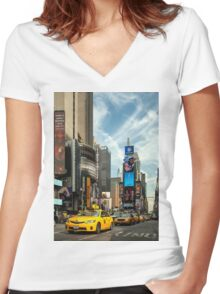 Yellow Taxi Times Square New York Women's Fitted V-Neck T-Shirt