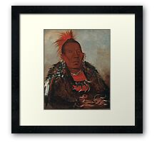 Wah-ro-née-sah (The Surrounder), an Otoe chief. Probably painted at Fort Leavenworth in 1832, by George Catlin Framed Print