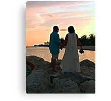 Bride and Groom On the Jetty Canvas Print