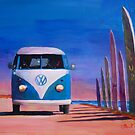 Blue White VW Surf Bus Bulli Surf Board by artshop77
