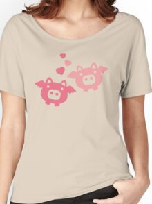 Flying Pigs in Love Women's Relaxed Fit T-Shirt