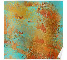 Abstract in Aqua and Copper Poster