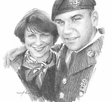 soldier son and mom drawing by Mike Theuer