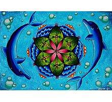 Dolphin and Lily pad mandala Photographic Print