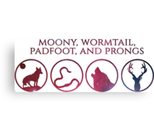 Moony, Wormtail, Padfoot, Prongs Canvas Print