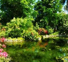 Tropical Garden by Lake by Susan Savad