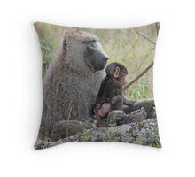 Baboon Bonding, Serengeti National Park, Tanzania Throw Pillow