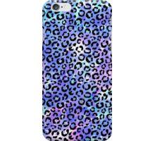 Black Leopard Print on Blue Watercolor Background iPhone Case/Skin