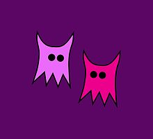 Pink Purple Cartoon Monster Ghosts by TigerLynx