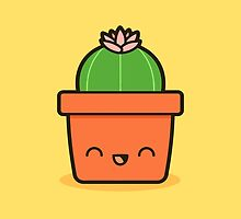 Cactus with flower in cute pot by peppermintpopuk