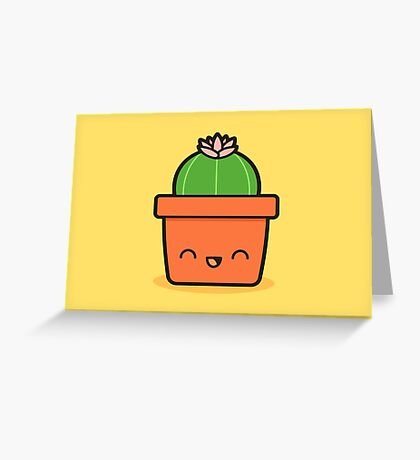 Cactus with flower in cute pot Greeting Card
