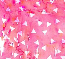 White Triangle Pattern on Pink Watercolor Paint by Blkstrawberry