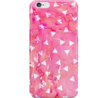 White Triangle Pattern on Pink Watercolor Paint iPhone Case/Skin