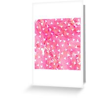 White Triangle Pattern on Pink Watercolor Paint Greeting Card